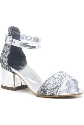 aa4362716e4fe Sarıkaya Gümüş Simli Kalın Topuklu Tek Bant Kız Çocuk Abiye Ayakkabı ...