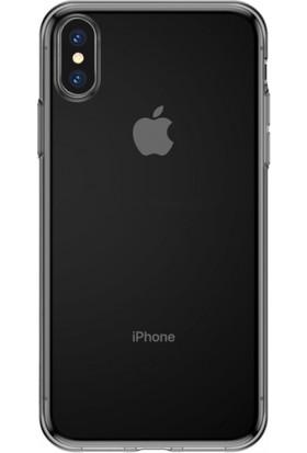 Baseus Apple iPhone XS Max 6.5 Simple Şeffaf Gel Darbe Emici Silikon Kılıf Şeffaf Siyah - ARAPIPH65-B01