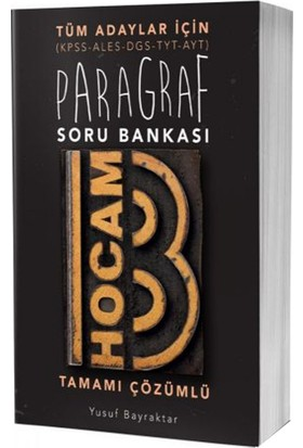 Benim Hocam Yayınları 2019 Tüm Adaylar İçin Paragraf Tamamı Çözümlü Soru Bankası - Komisyon