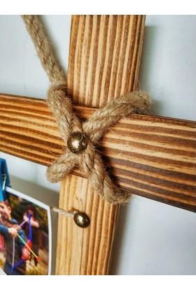 Wooden House Ahşap Fotoğraf Çerçevesi İpli 10 Adet Mandal Hediye