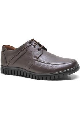 İzderi Kahverengi Hakiki Deri Ortopedik Günlük Erkek Ayakkabı