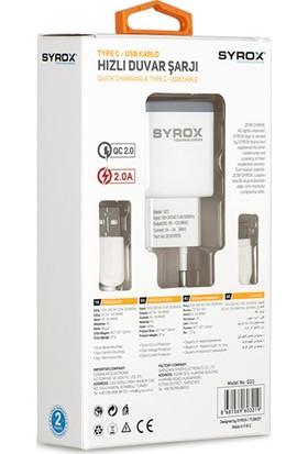 Syrox Type-C Quıck Şarj Cihazı Seti 2.0 Amper