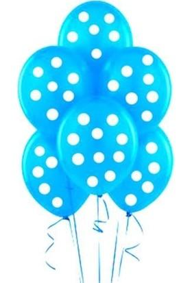 Parti Şöleni Mavi Üzerine Beyaz Puanlı Balon 20 Adet