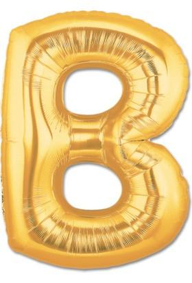 B Harfi Gold Folyo Balon 90Cm