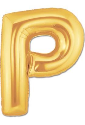 P Harfi Gold Folyo Balon 90Cm