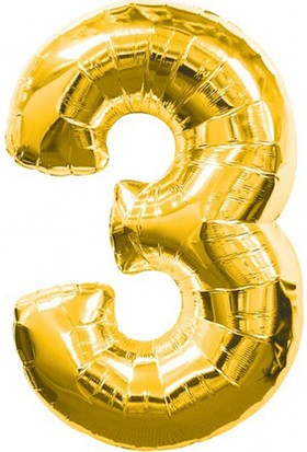 3 Rakamı Gold Folyo Balon 90Cm