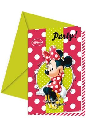 Parti Şöleni Minnie Mouse Fashion Davetiye 6 Adet