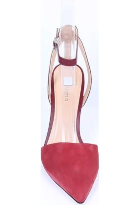 Butigma Kırmızı Süet Deri Bilekten Bağlamalı Sivri Burun Topuklu Sandalet - Kadın