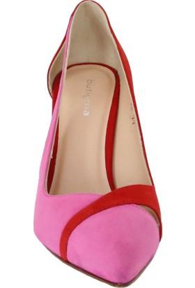 Butigma Kırmızı Ve Pembe Süet Deri Dekolteli Topuklu Ayakkabı - Kadın
