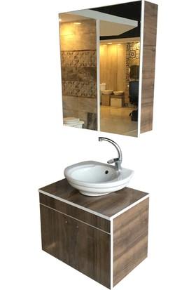 Banyo Dolabı Mdf Lam +Kapak Ayna Raf+36X45 Oval Lavabo