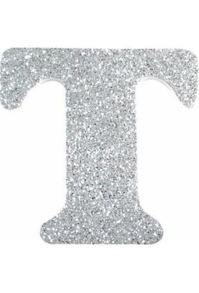 Sevinç T Harfi Gümüş Gri Simli Sticker Süsleme İçin