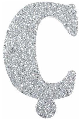Sevinç Ç Harfi Gümüş Gri Simli Stickerr Süsleme İçin