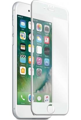 AkseStore Apple iPhone 8 Plus Gerçek 5D Süper Kavisli Ekran Koruyucu Cam (Beyaz)