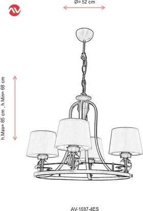 AVONNI AV-1597-4ES Eskitme Kaplama Modern Avize E27 Metal Cam 52cm