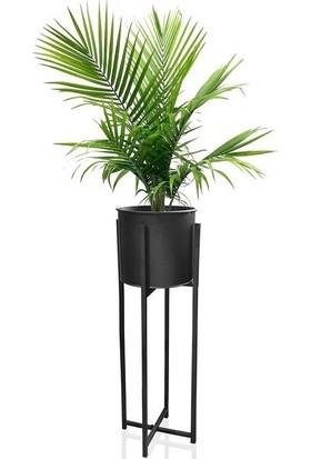 Mien Metal Siyah Dekoratif Ayaklı Saksı Ferforje Ayaklı 25 x 64 cm