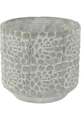 Mica Gri Renk Çimento Saksı 13X14
