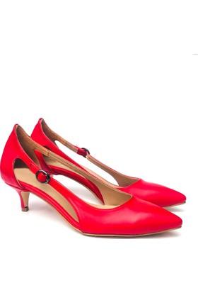 b9c5e6b21de16 Sothe ELF-1736 Kırmızı Deri Bayan Kısa Topuklu Ayakkabı ...