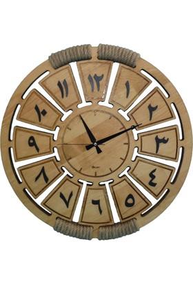 Siah Hira Gerçek Çam Duvar Saati 57 Cm