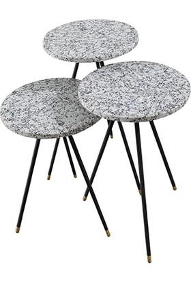 Milan Bu Home Metal Ayaklı Granit Zigon Sehpa