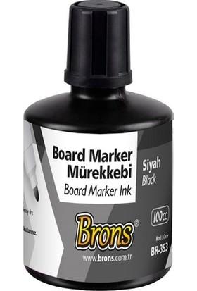 Brons Beyaz Tahta Kalemi Mürekkebi Siyah 100 Cc. Br-353 6'Lı Paket