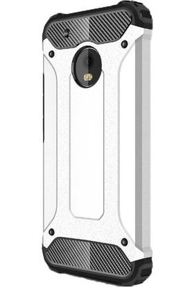 Jopus Lenovo Moto G5S Plus Kılıf Ultra Lüx Çift Katmanlı Darbe Emici Crash Kılıf + Cam Ekran Koruyucu - Gümüş