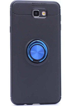 Jopus Samsung Galaxy J7 Prime Kılıf Ultra Korumalı Yüzüklü Standlı Ravel Silikon - (Siyah - Mavi) + Nano Ekran Koruma