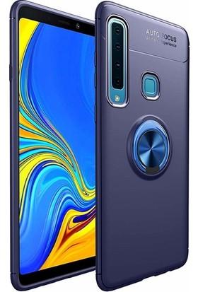 Jopus Samsung Galaxy A9 2018 Kılıf Ultra Korumalı Yüzüklü Standlı Ravel Silikon - (Lacivert) + Nano Ekran Koruma