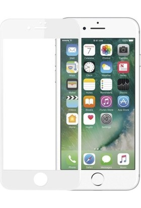 Jopus Apple iPhone 6 - 6S 5D Nano Tam Kaplayan Ekran Koruyucu - Beyaz + Şeffaf Silikon Kılıf