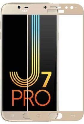 Jopus Samsung Galax J7 Pro 5D Nano Tam Kaplayan Ekran Koruyucu - Gold + Şeffaf Silikon Kılıf