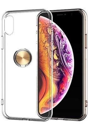 Ehr. Apple iPhone XS Max Kılıf Ultra Lüx Araç İçi Mıknatıslı Yüzüklü Şeffaf TPU Kılıf Gold