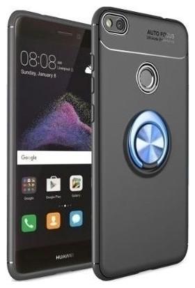 Ehr. Huawei P9 Lite 2017 Kılıf Ultra Lüx Araç İçi Mıknatıslı Yüzüklü P9 Lite 2017 Kılıf + Nano Koruyucu Cam Siyah - Mavi