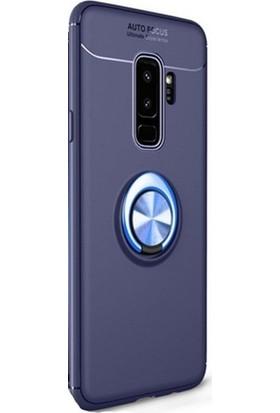 Ehr. Samsung Galaxy S9 Plus Kılıf Ultra Lüx Araç İçi Mıknatıslı Yüzüklü Kılıf + Ekran Koruyucu Cam Mavi