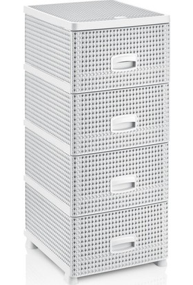 Redro Home Örgü Desenli 4'lü Plastik Komidin Set Beyaz