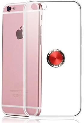 Casestore Apple iPhone 6 Plus Kılıf Ultra Lüx Araç İçi Mıknatıslı Yüzüklü Şeffaf TPU Kılıf