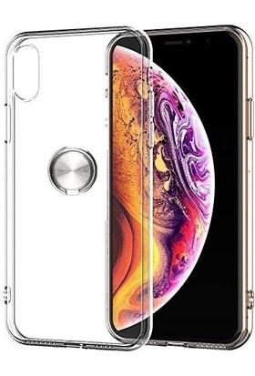 Casestore Apple iPhone X Kılıf Ultra Lüx Araç İçi Mıknatıslı Yüzüklü Şeffaf TPU Kılıf