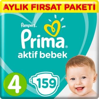 Prima Bebek Bezi Aktif Bebek 4 Beden 159 Adet Maxi Aylık Fırsat Paketi