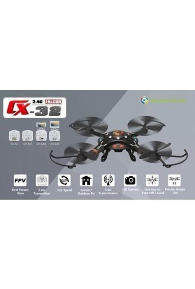 Cx-32W Kameralı Otomatik Kalkış Yapan Drone Multikopter Siyah