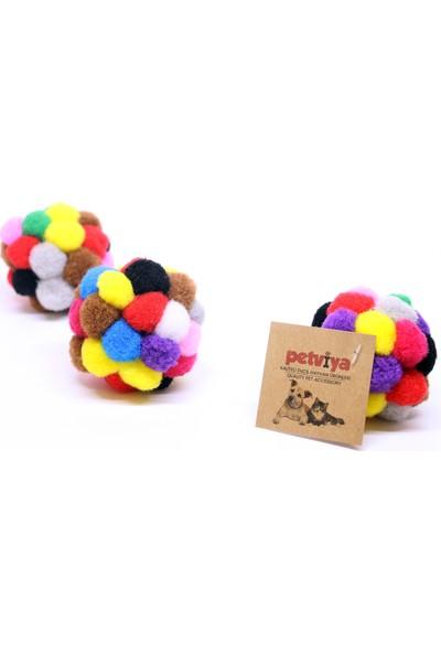 Petviya Ponponlu ve Çıngıraklı Kedi Oyun Topu Oyuncağı 7 Cm
