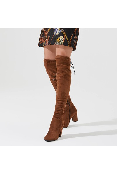 Butigo Wyndham17Z Süet Taba Kadın Dizüstü Stretch Çizme
