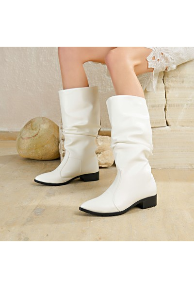 Butigo Aysan01Z Cilt Beyaz Kadın Çizme
