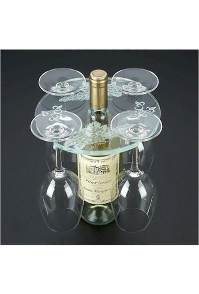 DiDiDeko Pleksi Masa Üstü Şarap ve Kadeh Taşıyıcı