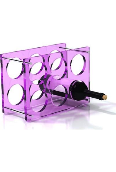 DiDiDeko Pleksi Mor 6'lı Şarap Depolama Ünitesi