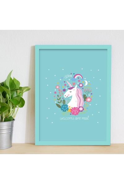 Miya Design Unicorns Are Real Mavi Çerçeveli Poster 30 x 40 cm