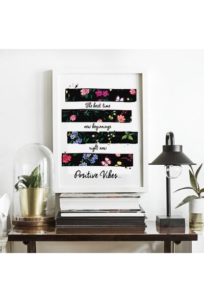 Miya Design Positive Vibes Beyaz Çerçeveli Poster 21 x 30 cm