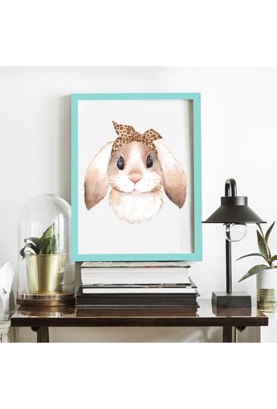 Miya Design Tavşancık Mavi Çerçeveli Poster 21 x 30 cm