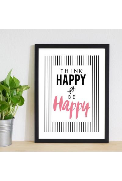 Miya Design Think Happy Siyah Çerçeveli Poster 30 x 40 cm