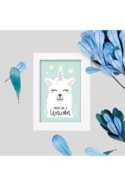 Miya Design Tatlış Unicorn Beyaz Çerçeveli Poster 10 x 15 cm