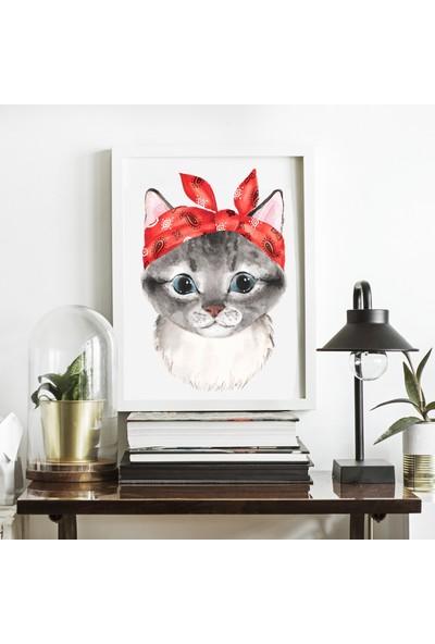 Miya Design Kırmızı Fularlı Kedicik Beyaz Çerçeveli Poster 21 x 30 cm