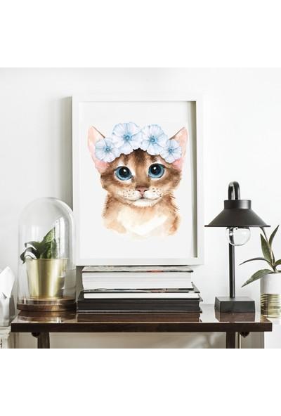 Miya Design Çiçekli Kedicik Beyaz Çerçeveli Poster 21 x 30 cm