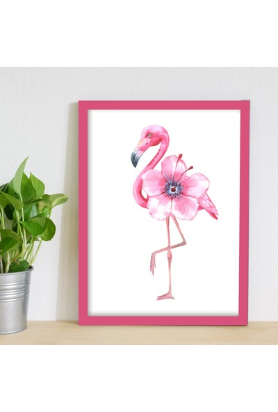 Miya Design Süslü Flamingo Pembe Çerçeveli Poster 30 x 40 cm